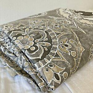 Pottery Barn Jacquelyn Gray Batik Medallion Cotton Sateen Full Queen Duvet Cover