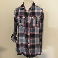 Anthropologie Bird Cage Shirt Womens plaid flannel roll tab sleeves small blue