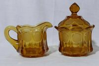 Vintage Amber Fostoria Coin Art Glass Covered Sugar Bowl and Cream Pitcher Set