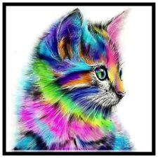 NEW 5D Fashion DIY Diamond Colour Cat Embroidery Painting Animal Rhinestone P6Y8