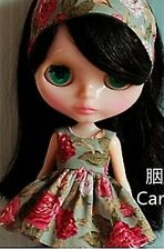 Blythe Doll Outfit Flower print Green Dress  + Hair Band