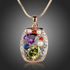 Rose Gold Plated Sparkly Multi Coloured Zircon Rhinestone Chain Necklace Pendant