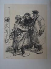 """STEINLEN (1859/1923) Litho WW1 - """" SCENE DE DEPART   """"  - Signé"""