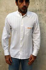 Gurú Italia Camisa informal de diseño de la Margarita Blanco con rayas de manga larga M envejecido