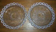 Pair Old Pattern Glass Plates - Greek Key Design - France PV Portieux Valleryst