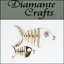 3D Fish 2 pieces Gold Alloy Encrusted Clear Diamantes White EnamelKawaii 3FS2013