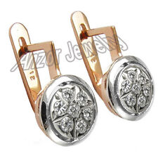Malinka .50 CWT Diamond Earrings 14k Rose and White Gold Color H Clarity SI1