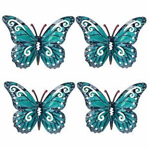 Set of 4 Blue Small Metal Butterflies Garden/Home Wall Art Ornament