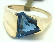 Trillion 2.52 Cts Clean BLUE ZIRCON RING 14K GOLD **** New With Tag ****