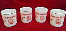Vintage Tom & Jerry mugs milk Glass Eggnog cups Mugs Hazel Atlas red gold band
