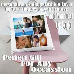 PERSONALISED COLLAGE CUSHION COVER IDEAL GIFT FOR ANY OCCASSION,TEXT OR LOGO