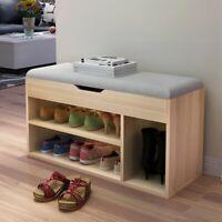 2 Tier Wood Shoe Storage Rack Bench Shelf Soft Seat Stool Organizer w/ Cushion