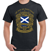 Scottish T-Shirt Men Are Born Equal Mens Flag Scotland Football St Andrews Day