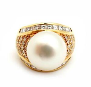 18k Yellow Gold, South Sea Pearl and 1.40cttw Diamond Ring Size 6