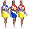 Women Fashion Short Sleeve Printed Colors Patchwork Loose T-shirt Casual Tops