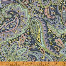 Windham Dover Flannel Rose Navy Blue Pink Green Paisley Floral Quilt Fabric