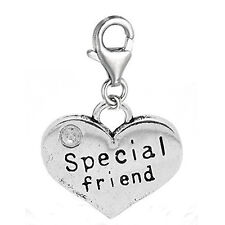 Special Friend Two Sided Heart Clip On Charm Pendant for European Charm Jewelry