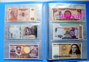 100pcs Different Banknotes  World Paper Money With Album Collections Gift