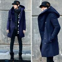 Men's Winter Warm Korean Fashion Long Double Breasted Jacket Hooded Parka Coat