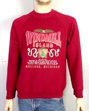 vtg 80s Windmill Island Holland MI Raglan Sweatshirt THICK Puffy Paint Logos L
