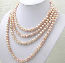 AAA Beautiful! 7-8MM Natural pink Akoya pearl necklace 100 inch