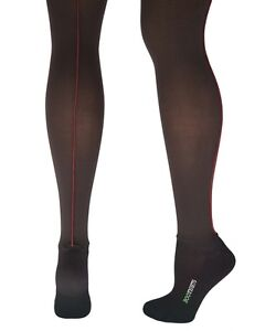 Bootights All In One Boot Tights Ankle Sock Black w Burgandy Seam A C D New!