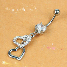 Body Piercing Barbell Double Heart Navel Ring Belly Button Crystal Rhinestone