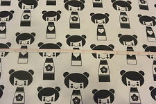 Japanese Kokeshi Dolls Cotton Flannel Fabric Black & White BTY