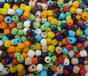 500 pcs VTG 5mm Assorted Colors Glass Tube Bulk Loose Craft Beads Made in India