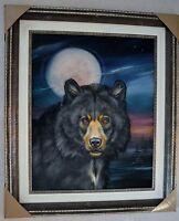 MARTIN KATON ORIGINAL OIL PAINTING BLACK BEAR MOON SIGNED W/COA LARGE FRAMED
