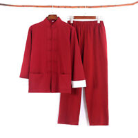 Mens Chinese Tang Kung Fu Suit Martial Arts Uniform Shirt+pants Taichi Costume