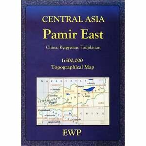 Pamir East topographic map Central Asia Tajikistan, hiking, trekking, driving