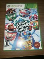 Hasbro Family Game Night 3 Xbox 360 COMPLETE Clue Life Mouse Trap Yahtzee