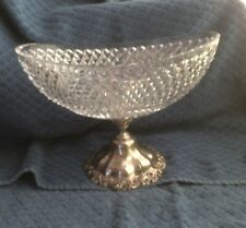 Old Cut Glass w Silver Footed Centerpiece Bowl