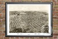 Old Map of Bloomington, IL from 1867 - Vintage Illinois Art, Historic Decor