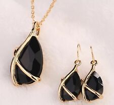18k Gold Plated Jewellery Set Necklace Earring Sapphire Pendant Chain Drop Black