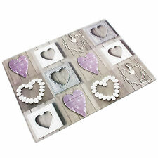 Large 40cm Glass Worktop Rustic Pebble Hearts Chopping Board Saver Protector