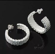"Beautiful New Sterling Silver Plated Mesh Post / Stud 1"" Hoop Earrings"