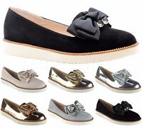 Ladies Womens Flats Slip On Bow Loafers Sneaker Trainers Office Pumps Shoes Size