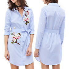 Fashion Women Long Sleeve Flower Top Blouse Caual Stripe Shirt Dress with Belt