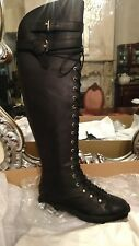 NIB $548 Joie Gryffin Lace-Up Knee High Leather Boot Black Size EU 37 US 7