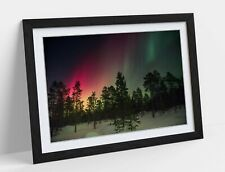 NORTHERN LIGHTS -FRAMED POSTER WALL ART PRINT ARTWORK- PINK GREEN YELLOW