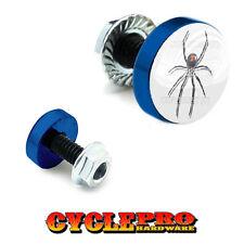 2 Vivid Blue Billet License Plate Frame Tag Bolts -  SPIDER ON WHITE - 116