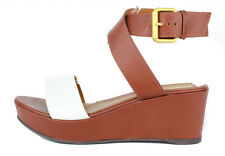 FENDI $695 Spring 2014 Brown & White Ankle Strap Wedge Sandals 38.5