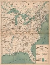 United States East 1892. USA 1885 old antique vintage map plan chart