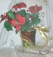 CHRISTMAS Rein Deer Glitter Poinsettia Gold Metal Sculpted Flower Pot Removable