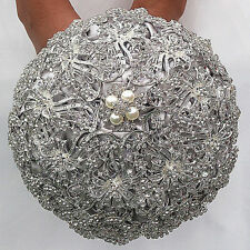 Luxury Silver Rhinestone Crystal Pearls Brooch Bride Wedding Bouquet Decor Gift