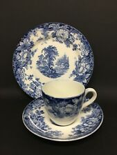 Lovely Allertons Blue and White Cup, Saucer and Plate Excellent Condition