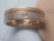 Diamant Ring 2-farbig Gold 750 Gr.61,breiter Damenring 750 mit Brillant 0,06 ct