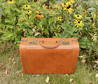 Vintage G.S. Stylite Brown Leather Suitcase 1950s